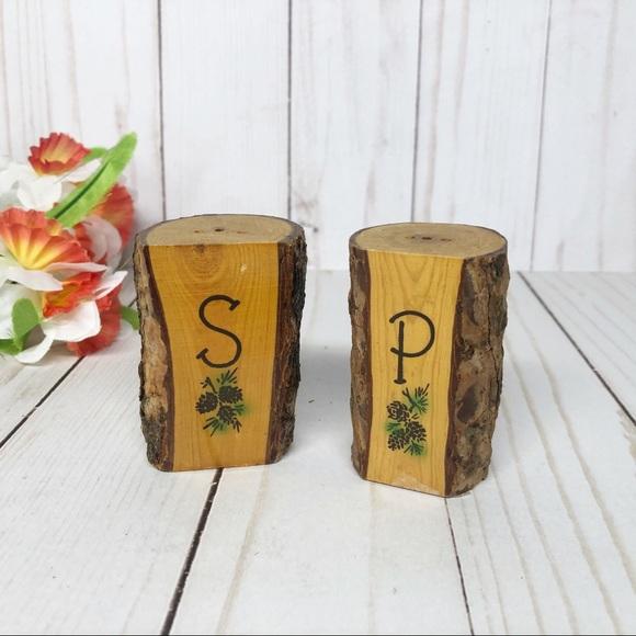 Vintage Wooden Tree Bark Salt Pepper Shakers Set